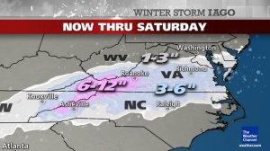 Would snow tonight = excusable delay for contractors tomorrow?  Image courtesy of The Weather Channel.