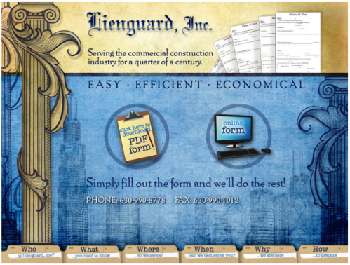 Screen shot of Lienguard's home page
